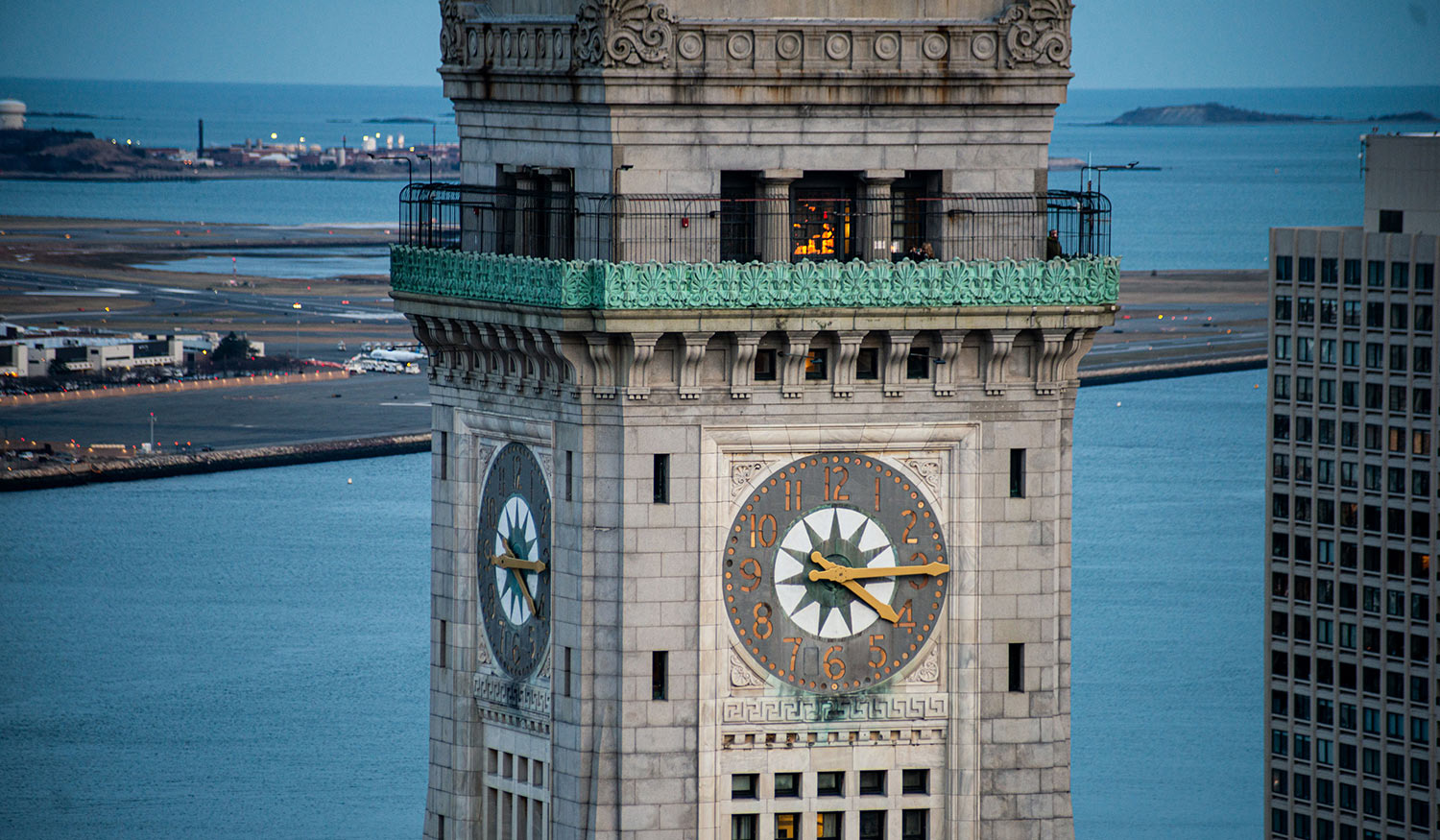 Composite clock tower hands, built by Lyman-Morse and installed on Boston's Custom House Tower